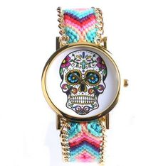 Sugar Skull Watch - Braided Bracelet - Multicolour