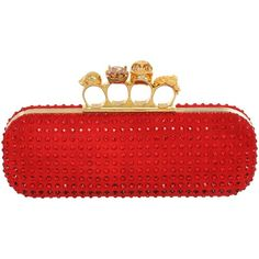 Alexander McQueen Crystal Knucklebox Clutch ($1,439) ❤ liked on Polyvore featuring bags, handbags, clutches, purses, alexander mcqueen, bolsas, red, red purse, red hand bags and crystal clutches