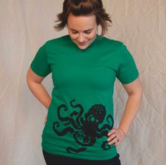 geek clothing 8Bit Octopus women's medium by blackbirdandpeacock, $22.00