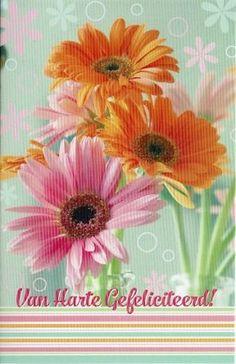 Felicitatiekaart met felle bloemen Plants, Paper Board, Plant, Planets