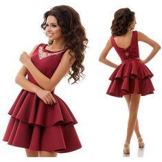 Stylish ladies burgundy viscose & fancywork pouf dress #viscose #fancywork #pouf #dress