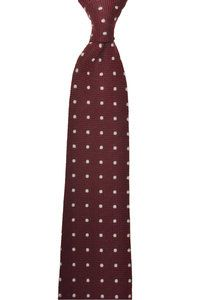 Silk and Wool Handrolled Dot tie - Burgundy