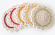 Make a Set of Five Ombre Crocheted Coasters (via a href=http://craft.tutsplus.com/tutorials/crochet/make-a-set-of-five-gorgeous-crocheted-coasters/craft.tutsplus.com/a)