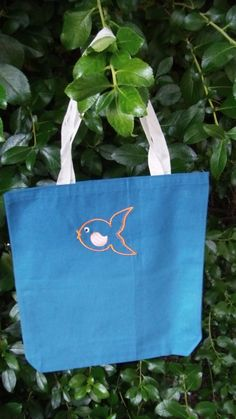 Goldfish Canvas Tote Bag Royal Blue EMBROIDERY by JulsSewCrazy, $7.00