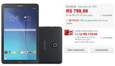 """Tablet Samsung Galaxy Tab E T560 8GB Wi-Fi Tela 9.6"""" Android 4.4 Quad-Core << R$ 71909 >>"""