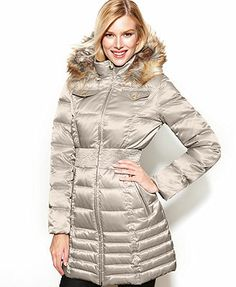 Laundry by Shelli Segal Coat, Faux-Fur-Trim Hooded Parka Puffer at Macys. I want this sooo badly! I don't know if I like it more in silver or black, either way I want it!!