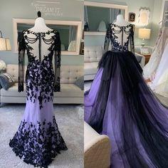 Goth Wedding Dresses, Wedding Dress Sketches, Custom Wedding Dress, Wedding Dress Styles, Dress Wedding, Halloween Wedding Dresses, Lavender Wedding Dress, Rainbow Wedding Dress, Purple Wedding Gown