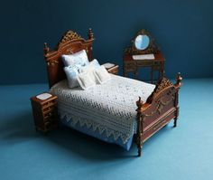 White Miniature Dollhouse Crocheted 7piece Bed by MiniatureDelta, $84.90