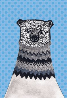 Bear with Lopapeysa Icelandic sweater large print of by Pizublic