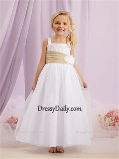 66dcae4c4 A-line Princess Straps Long White Tulle lace Flower Girl Dress With sash - Flower  Girl Dresses - Weddings