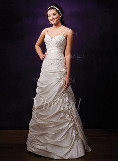 Forme Princesse Col V Longueur ras du sol Taffeta Robe de mariée avec Plissé Dentelle (00205000707)