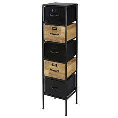 Shelf with 5 drawers made of mango wood and black metal - Shelf 5 Drawer Storage, Metal Storage Cabinets, Metal Shelves, Locker Storage, Houston, Black Metal Shelf, Closet Organization, Sweet Home, Wood