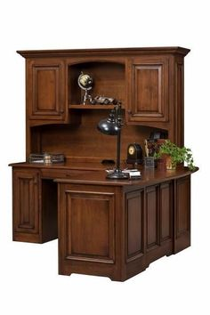 Amish Liberty Classic Corner L Desk with Optional Hutch Top An impressive fit for the corner, the Liberty is Amish made with solid wood. Completely customizable. Made in America. #desks #cornerdesk #wooddesk #officefurniture