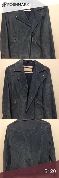 NWT Topshop Suede Leather Motorcycle Biker Jacket NWT Topshop Suede Leather Motorcycle Jacket. Size is UK 8 which is equivalent to a US 4. Color is a beautiful Light Blue, almost grayish color. Jacket is short, Lightweight w/ elbow length sleeves so perfect for these Spring/Summer months! Topshop Jackets & Coats