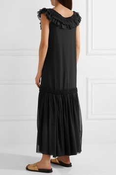 Opening Ceremony - Ruffled Pleated Silk-chiffon Maxi Dress - Black - US12