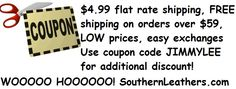 Use coupon code for even MORE discounts www.SouthernLeathers.com motorcycle leathers luggage helmets jackets chaps biker apparel bartender costumes waitress costumes halloween costumes and more