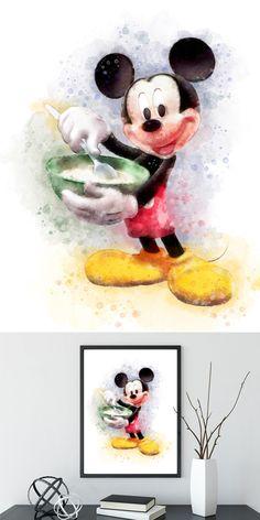 Printable Mickey Mouse Disney Watercolor Print Nursery Decor Wall Art Disney Poster Home Kids Decor Disney Art INSTANT DOWNLOAD
