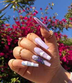 cute trendy long lavender coffin butterfly and coffin acrylic nails Purple Acrylic Nails, Summer Acrylic Nails, Best Acrylic Nails, Purple Nails, Blush Nails, Edgy Nails, Aycrlic Nails, Stylish Nails, Swag Nails