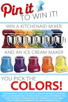 Pin It  To Win It: KitchenAid Mixer AND Ice Cream Maker Giveaway at MomOnTimeout.com