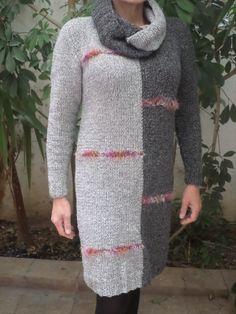 Elegancka sukienka-tunika z osobno zakładanym golfem