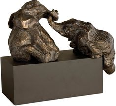 "0-015677>16""""h Playful Pachyderms Statue Antique Bronze Patina"