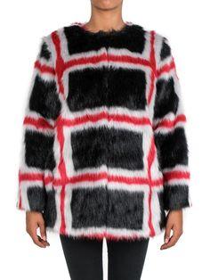 PINKO - Cappotto in ecopelliccia fantasia - Rosso/Nero/Bianco - Elsa-boutique.it ♥ #Pinko