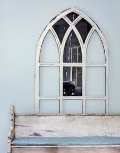 Dishfunctional Designs: Window of Opportunity: Old Salvaged Windows Get New Life As Unique Decor Church Windows, Old Windows, Windows And Doors, Gothic Windows, Swedish Style, Scandinavian Style, Church Pew Bench, Church Pews, Reclaimed Windows