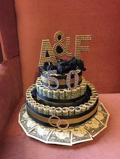 Custom 50th Anniversary Money Cake Gift by BabyCakesBySuziQ