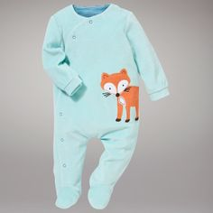 Buy John Lewis Baby Fox Sleepsuit, Green online at John Lewis