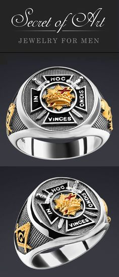 """Very fine Knights templar Masonic ring: In Hoc Signo Vinces (""""In this sign you shall conquer"""")  With filigree Symbols on the side of the ring: Compasses & square-tool and the skull as symbol for the transience of life. This high-quality silver ring is handmade in highest quality craftsmanship."""