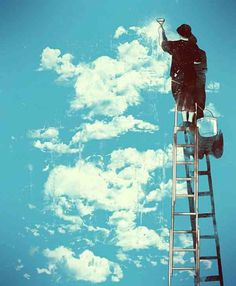 """Getting the clouds ready for """"The Truman Show"""""""