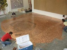 Cents and Sensibility: How to Make a Penny Floor, can use any coins and do backsplash
