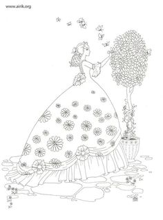 by great illustrator and storyteller Enna Airik Floral Embroidery Patterns, Silk Ribbon Embroidery, Hand Embroidery Designs, Vintage Embroidery, Cross Stitch Embroidery, Sewing Patterns, Colouring Pages, Coloring Books, Sue Sunbonnet