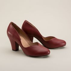 """Marilyn"" 1940s Pin Up Pumps in Oxblood Red by Royal Vintage. Beautiful shoes with a round toe, Cuban heel, and killer curves. $150 from RoyalVintageShoes.com"