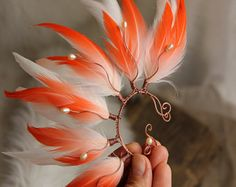 """Feather Ear Cuff Exclusive Feather Ear Cuff – """"The Goddess Of The Sun"""" Feather Ear Cuff Pink Feather Ear Cuff Pink Tribal Feather Ear Cuff – Piercing Ear Cuff Jewelry, Feather Jewelry, Tribal Jewelry, Cute Jewelry, Jewelry Crafts, Jewelry Accessories, Jewelry Design, Skull Jewelry, Western Jewelry"""