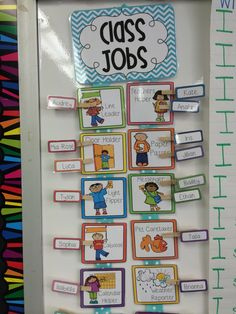 Classroom jobs: Hot glue the job cards onto ribbon. Attach children's names clothespins using velcro. Be sure to attach velcro to both sides of the clothespin so you can flip the names. :) Job cards available in my back to school unit on TPT