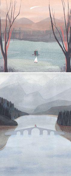 Beautiful romantic watercolour illustrative art for valentine's everywhere. Quiet illustrations by Sandra Rilova // painted illustration // illustration art
