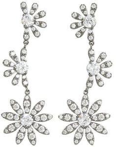 ShopStyle: CZ By Kenneth Jay Lane - CZ Triple Flower Drop Earrings