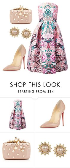 Sin título #154 by paulidiectione on Polyvore featuring moda, Mary Katrantzou, Christian Louboutin, Elie Saab and Carolee
