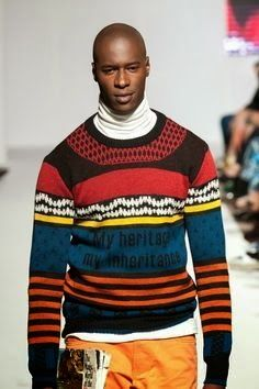 "Laduma Ngxokolo is a young South African designer who incorporates his own Xhosa culture into his knitwear designs. MaXhosa by Laduma knitwear - ""My heritage, my inheritance"". Fashion inspired by Tradition. Fashion with a story to tell. #AfricanFashion http://www.maxhosa.co.za/"