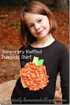 Temporary Ruffled Pumpkin Shirt - LOVE! Everything is made on black felt and then hand-stitched on so that it can be removed after halloween. LOVE!