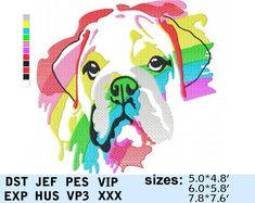 547d6b05 English Bulldog Embroidery Design Rainbow Watercolor pes Puppy Portrait Dog  Face Pattern Animal Pet Digital Embroidery Design File t-shirt