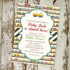 Cuteset car invite! baby boy shower invitation with cars printable digital file (item 1264). $13.00, via KatyDidDesigns on Etsy.