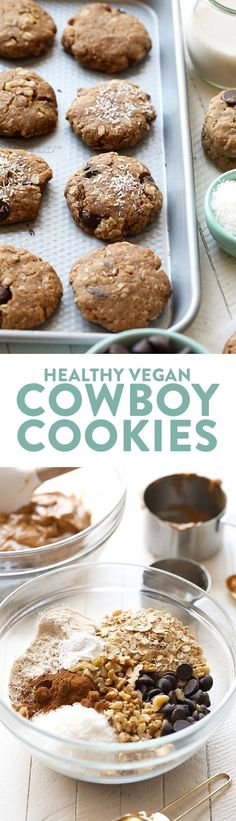 Looking to whip up a batch of healthy cookies? Lighten things up with these crunchy on the outside, soft on the inside healthy vegan cowboy cookies! They're made with peanut butter, oats, coconut, and walnuts! If you love vegan peanut butter cookies, then I know you'll love these healthy vegan cowboy cookies!