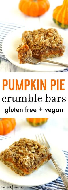 An amazing dessert for fall! These pumpkin pie crumble bars are easy to make and so delicious! A gluten free and vegan recipe for pumpkin pie crumble bars. A perfect holiday dessert. Pumpkin Pie Recipes, Fall Recipes, Sweet Recipes, Whole Food Recipes, Vegan Recipes, Gluten Free Desserts, Vegan Desserts, Delicious Desserts, Dessert Recipes