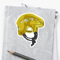 'Yellow hockey helmet' Sticker by MimieTrouvetou Hockey Helmet, Framed Prints, Canvas Prints, Laptop Sleeves, V Neck T Shirt, Finding Yourself, Classic T Shirts, Iphone Cases, Stickers