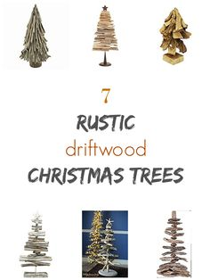 7 rustic driftwood Christmas trees. Simple Holiday decor idea.