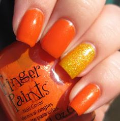 Orange Mani with Glittery Yellow Accent Nail