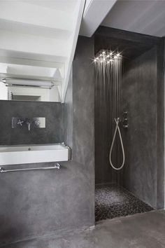 we can also find the existence of concrete bathroom, which includes concrete floor as well as concrete sink. Check out our collection of 28 Best Concrete Bathroom Design Ideas. Grey Bathrooms, Beautiful Bathrooms, Modern Bathroom, Small Bathroom, Minimalist Bathroom, Masculine Bathroom, Half Bathrooms, Bathroom Black, Modern Shower