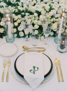 An Opulent Wedding at a Château in Provence, France Wedding Table Deco, Wedding Plates, Wedding Napkins, Wedding Decor, Wedding Renewal Vows, Monogram Wedding Invitations, Southern Weddings, Wedding Weekend, Destination Wedding